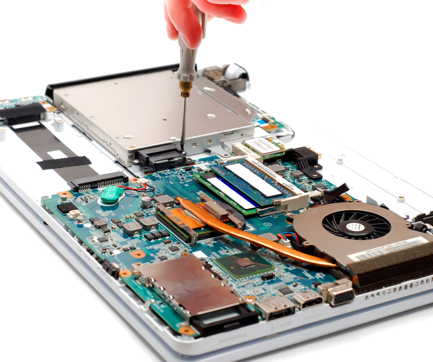 man repair laptop motherboard with screwdriver